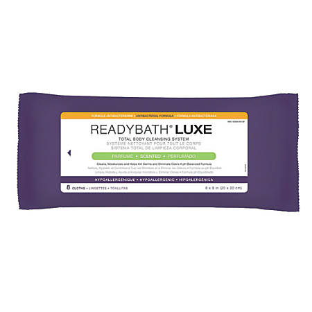 """ReadyBath LUXE Total Body Cleansing Heavyweight Washcloths, Antibacterial, Scented, 8"""" x 8"""", White, 8 Washcloths Per Pack, Case Of 24 Packs"""