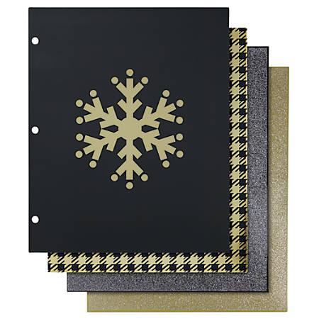 "Divoga™ Fashion Paper Portfolio Folders, 8 1/2"" x 11"", 3/8"" Capacity, Cozy Cabin, Pack Of 4"