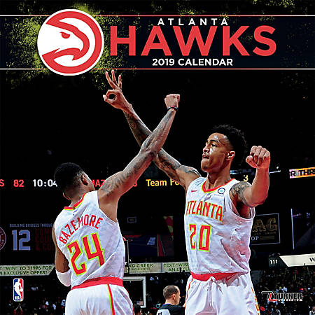 "Turner Sports Monthly Wall Calendar, 12"" x 12"", Atlanta Hawks, January to December 2019"
