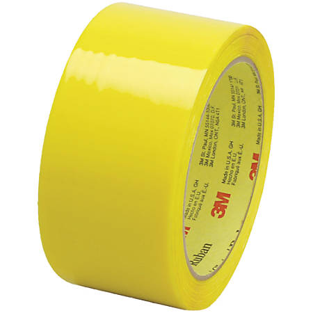 "Scotch® 373 Carton-Sealing Tape, 3"" Core, 2"" x 55 Yd., Yellow, Pack Of 6"