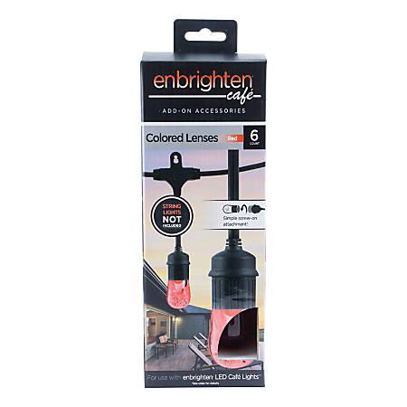 Enbrighten Café Light Decorative Color Lenses, Red, Pack Of 6 Lenses
