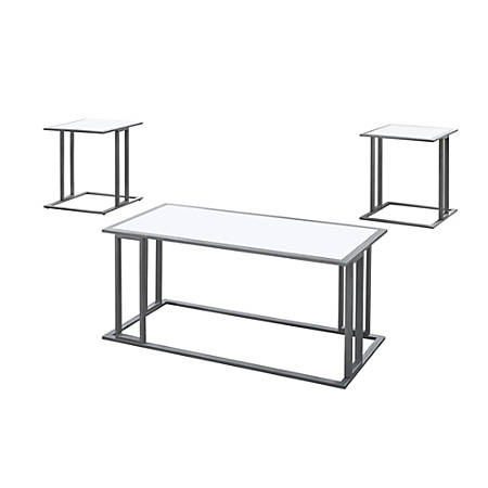 Wondrous Monarch Specialties Coffee Table With Two 20 1 2W Square End Tables White Silver Item 4568757 Ocoug Best Dining Table And Chair Ideas Images Ocougorg