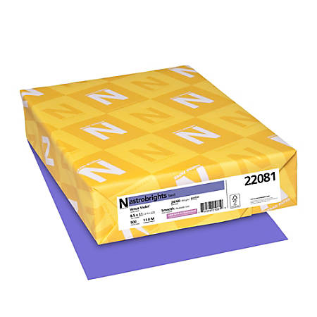 """Neenah Astrobrights® Bright Color Paper, Letter Size (8 1/2"""" x 11""""), 24 Lb, Venus Violet, Ream Of 500 Sheets"""