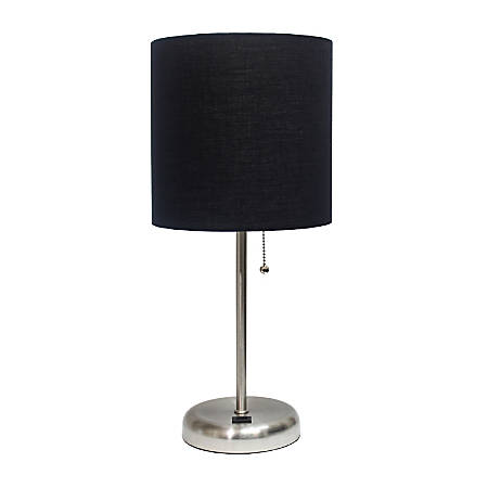 "LimeLights Stick Lamp With USB Port, 19-1/2""H, Black Shade/Brushed Steel Base"