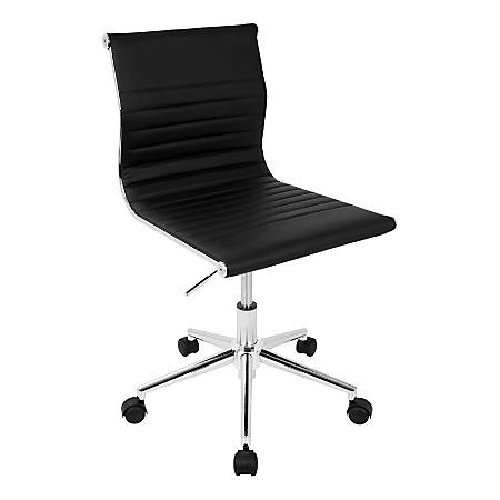 LumiSource Master Faux Leather Contemporary Armless Adjustable Task Chair, Black/Chrome