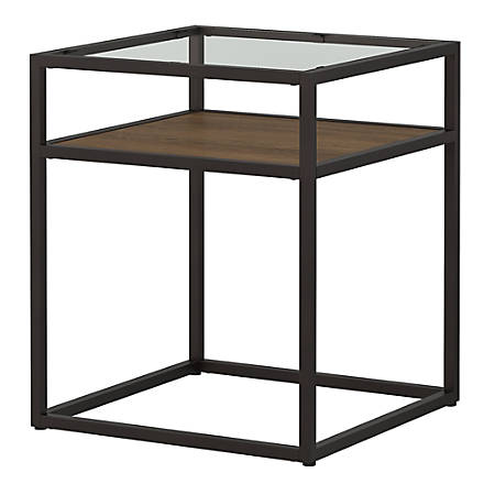Bush Furniture Anthropology Glass Top End Table, Rustic Brown Embossed, Standard Delivery