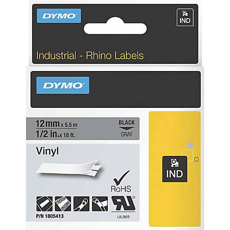 DYMO® Black on Gray Color Coded Labels, LJ7435