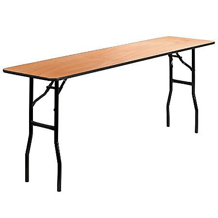 "Flash Furniture Rectangular Wood Folding Seminar Table, 30-1/4""H x 18""W x 72""D, Natural"
