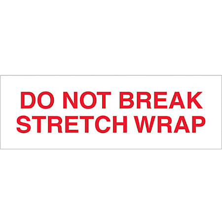 "Tape Logic® Do Not Break Stretch Wrap Preprinted Carton Sealing Tape, 3"" Core, 2"" x 55 Yd., Red/White, Pack Of 18"