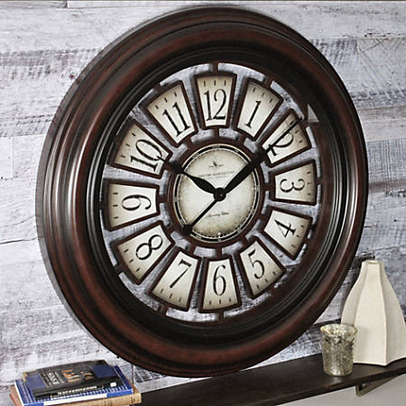 "FirsTime® Majestic Hollow Wall Clock, 29"" x 2"", Aged Espresso"