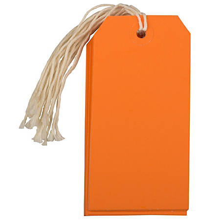 """JAM Paper® Gift Tags, 4 3/4"""" x 2 3/8"""", Orange, Pack Of 10"""