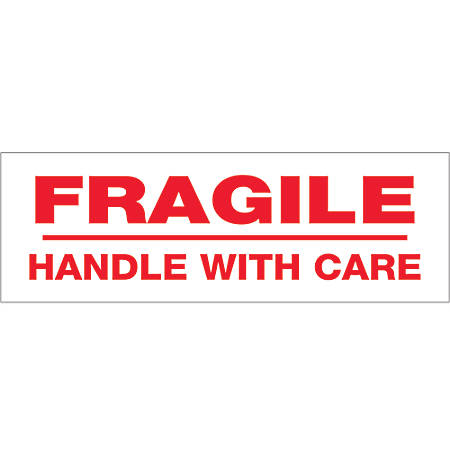 "Tape Logic® Fragile Handle With Care Preprinted Carton Sealing Tape, 3"" Core, 2"" x 55 Yd., Red/White, Case Of 6"