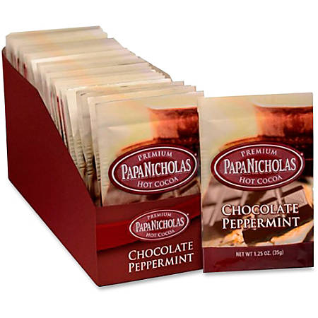 PapaNicholas Chocolate Peppermint Hot Cocoa Single-Serve Packets, Carton Of 24