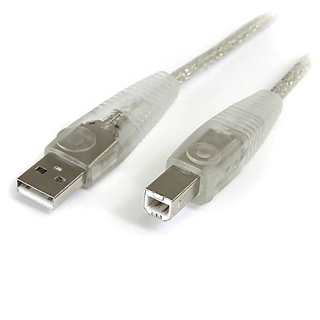StarTech.com 6 ft Transparent USB 2.0 Cable - A to B - Type A Male - Type B Male - 6ft