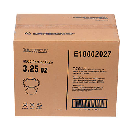 Portion Cups, 3.2 Oz, 10 Per Pack, Carton Of 250 Packs