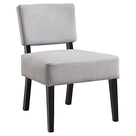 Monarch Specialties Armless Accent Slipper Chair, Light Gray/Black