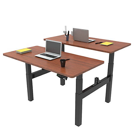 Loctek Height-Adjustable Dual Bench Desk, Black/Mahogany