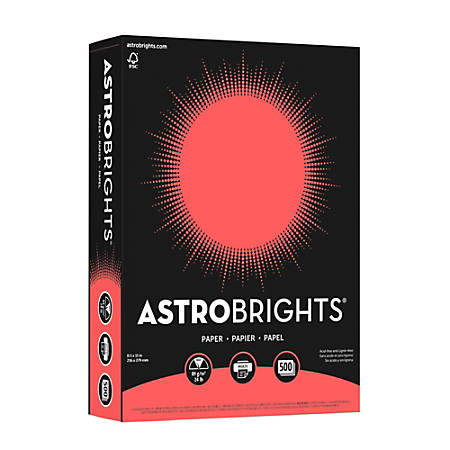 "Neenah Astrobrights® Bright Color Paper, Letter Size (8 1/2"" x 11""), 24 Lb, FSC® Certified, Rocket Red, Ream Of 500 Sheets"