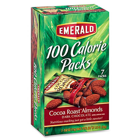 Emerald Diamond 100 Calorie Packs Cocoa Roast Almonds - Cocoa, Almond - Packet - 0.63 oz - 7 / Box