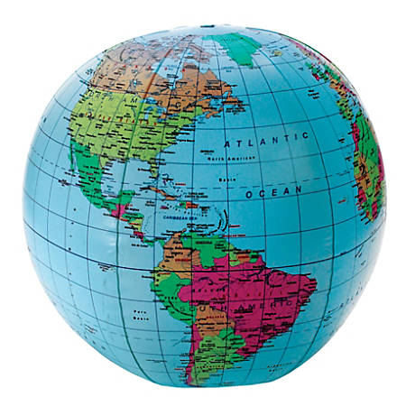 """Learning Resources® Inflatable World Globe, 12"""" x 12"""", Blue"""