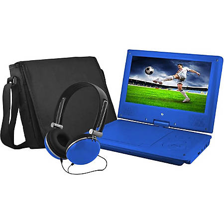 "Ematic EPD909 Portable DVD Player - 9"" Display - 640 x 234 - Blue - DVD-R, CD-R - JPEG - DVD Video, Video CD, MPEG-4 - CD-DA, MP3 - 1 x Headphone Port(s) - Lithium Polymer (Li-Polymer) - 2 Hour"