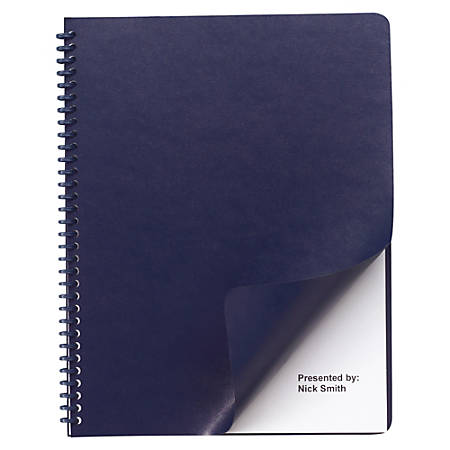 "GBC® Regency 40% Recycled Round Corners Presentation Binding Covers, 8 3/4"" x 11 1/4"", Navy, Box Of 200"