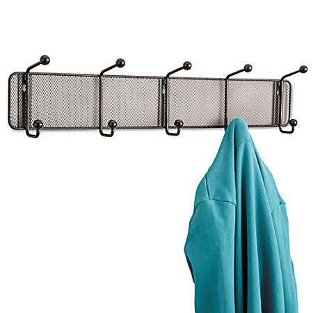 Safco Onyx 5-hook Steel Mesh Wall Rack - 5 Hooks - for Scarf, Hat, Coat, Garment - Steel - Black - 1 / Each