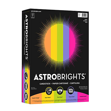 "Astrobrights® Color Card Stock, 8 1/2"" x 11"", FSC® Certified, 65 Lb, Happy Assortment, Pack Of 250 Sheets"