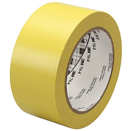 "3M™ 764 Vinyl Tape, 3"" Core, 2"" x 36 Yd., Yellow, Case Of 6"