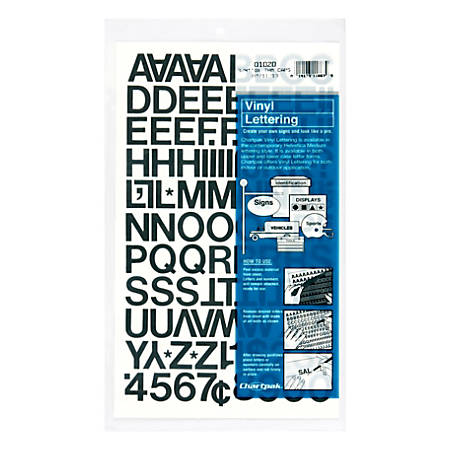 """Chartpak Pickett Vinyl Letters And Numbers, 3/4"""", Black"""