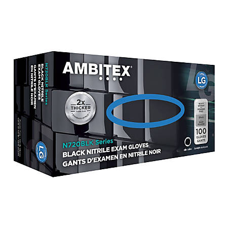 Ambitex® Disposable Powder-Free Nitrile Gloves, Exam, Large, Black, Case Of 1,000