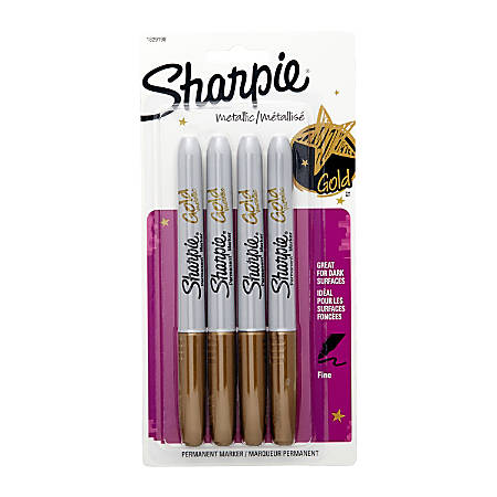 Sharpie® Metallic Permanent Markers, Fine Point, Gold Ink, Pack Of 4