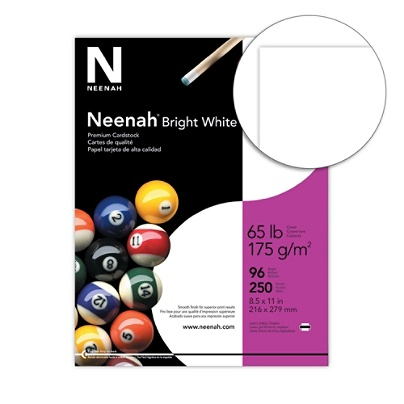 Neenah Bright White Premium Card Stock Letter Size 65 Lb White Pack Of 250 Sheets Item 458621