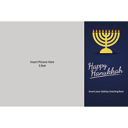 Flat Photo Greeting Card, Happy Hanukkah, Horizontal