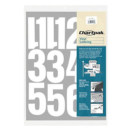 """Chartpak Pickett Vinyl Numbers, 4"""", White"""