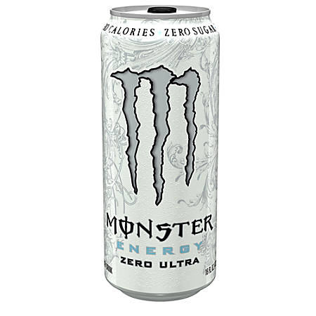Monster Energy Drinks, Ultra Zero, 16 Oz, Pack Of 24 Cans