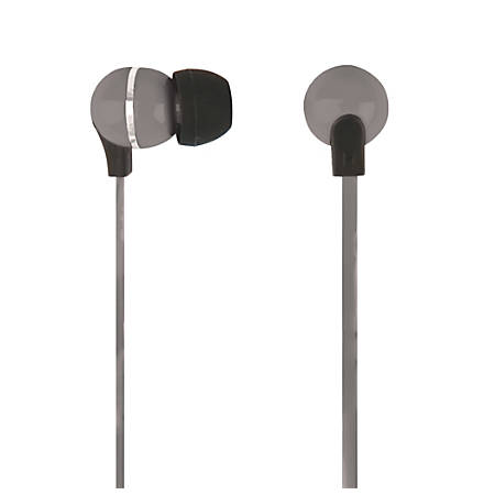 Ativa™ Plastic Earbud Headphones with Flat Cable, Gray