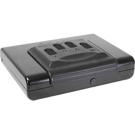 "First Alert Portable Handgun or Pistol Safe, CA DOJ Approved - Electronic, Programmable Lock - In-Floor - for Pistol, Gun - Internal Size 3.30"" x 10.90"" - Overall Size 3.5"" x 11.1"" - Gray - Powder Coated Steel, Steel"