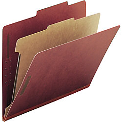 """Smead® Pressboard Colored Classification Folders, 2"""" Expansion, Letter Size, 100% Recycled, Red, Box Of 10 Folders"""