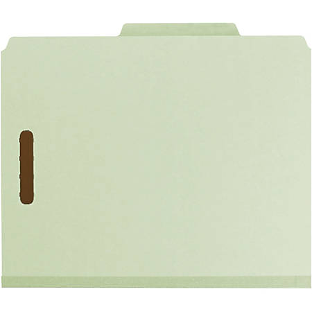 "Smead® Pressboard Colored Classification Folders, 3"" Expansion, Letter Size, 100% Recycled, Gray/Green, Box Of 10 Folders"