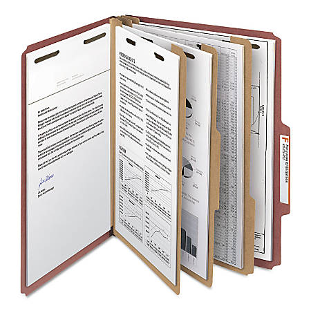 "Smead® Pressboard Colored Classification Folders, 3"" Expansion, Letter Size, 100% Recycled, Red, Box Of 10 Folders"