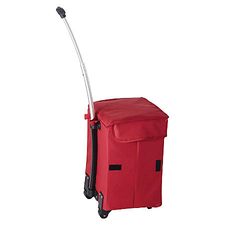 """dbest Smart Cart Polyester Folding Utility Cart With Extendable Handle, 18 7/8""""H x 13""""W x 4 1/2""""D, Red"""