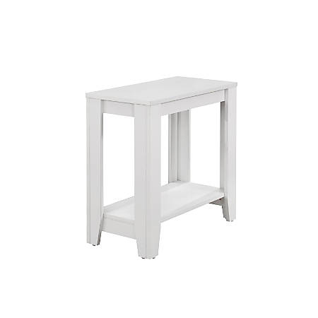 Monarch Specialties Side Table, With Shelf, Rectangle, White