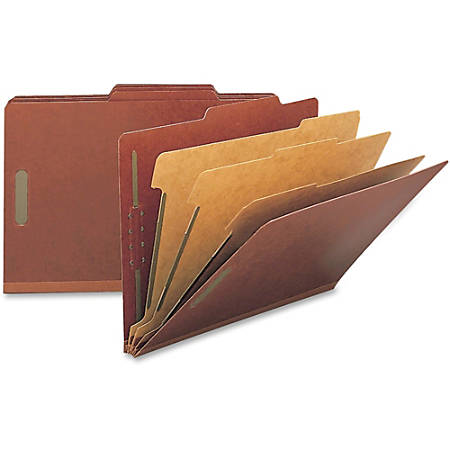"""Smead® Pressboard Colored Classification Folders, 3"""" Expansion, Legal Size, 100% Recycled, Red, Box Of 10 Folders"""