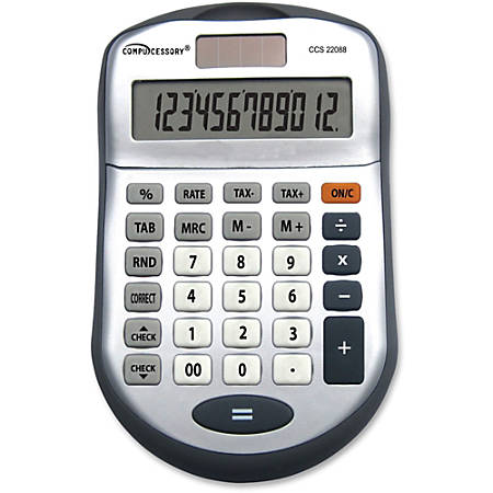 Compucessory 22088 12 Digit Desktop Calculator - 12 Digits - Dark Gray - 1 Each