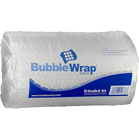 "Sealed Air Cushioning Bubble Wrap - 12"" Width x 30 ft Length - 0.5"" Bubble Size - Perforated - Clear"