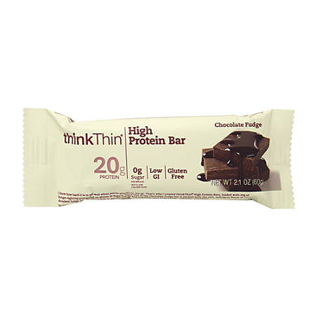 thinkTHIN High-Protein Chocolate Fudge Bars, 2.1 Oz, Box Of 10 Bars