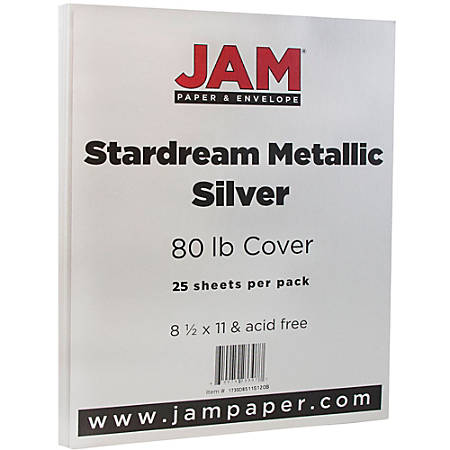 "JAM Paper® Printer Paper, Letter Size (8 1/2"" x 11""), 80 Lb, Silver Stardream Metallic, Ream Of 25 Sheets"