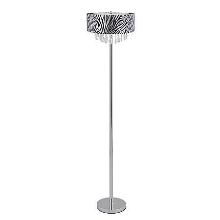"Elegant Designs Romazzino Floor Lamp, 61 1/2""H, Zebra Shade/Chrome Base"