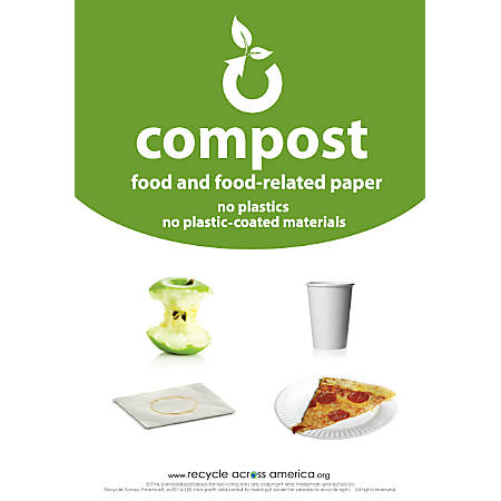 """Recycle Across America Compost Standardized Labels, COMP-1007, 10"""" x 7"""", Green"""